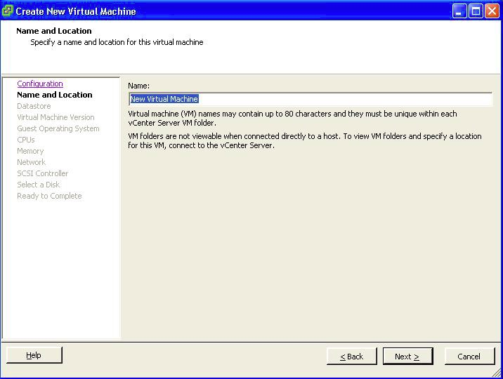 Select a Name and Location for this Virtual Machine.