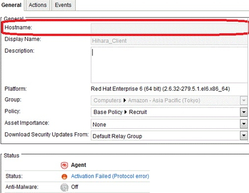 activation error null hostname