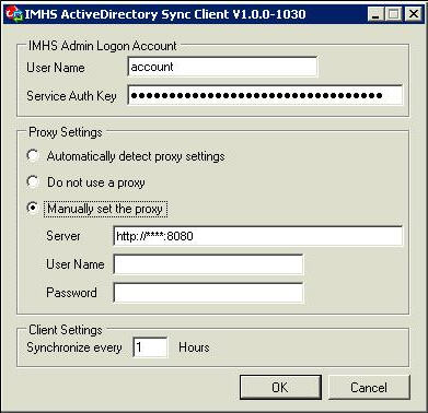 Active Directory Sync Client configuration