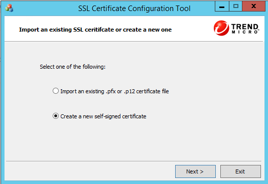 Create a new self-signed certificate