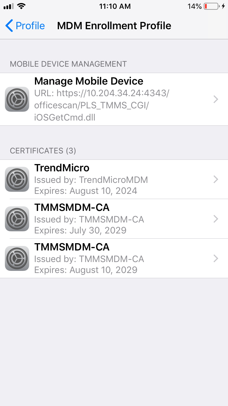 檢查是否有兩個 TMMSMDM-CA