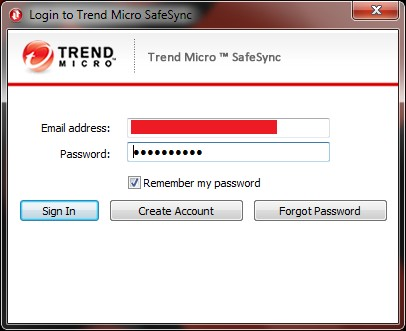 Log in to your Trend Micro SafeSync Account