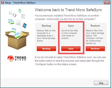 Set up Trend Micro SafeSync