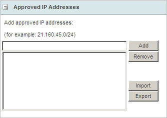 Approved IP addresses list