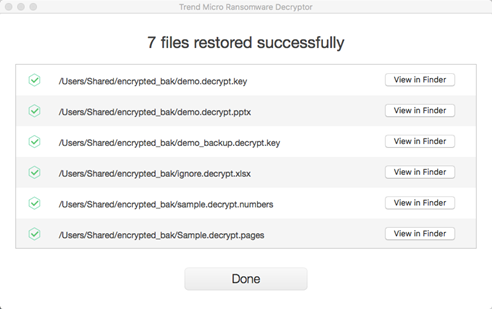 Decrypting the files