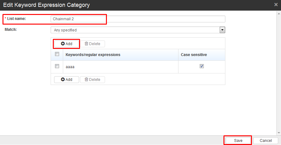 Edit Keyword Expression Category