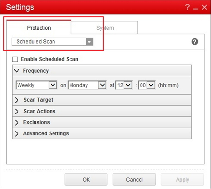 Scheduled scan settings on OfficeScan 11 client