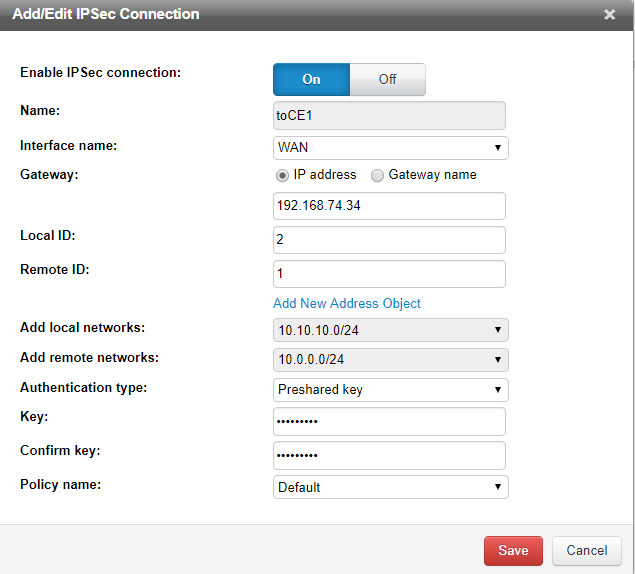 Configure site-to-site VPN connection from Cloud Edge2 site to Cloud Edge1 sit