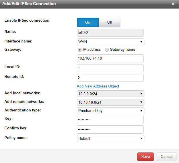 Configure site-to-site VPN connection from Cloud Edge1 site to Cloud Edge2 site