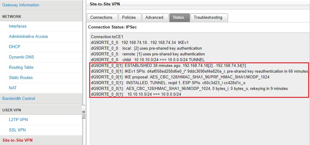Verify the site-to-site VPN