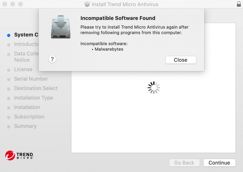 Incompatible Software Found