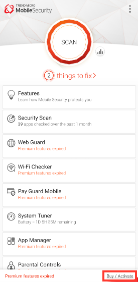 Activate Trend Micro Mobile Security for Android