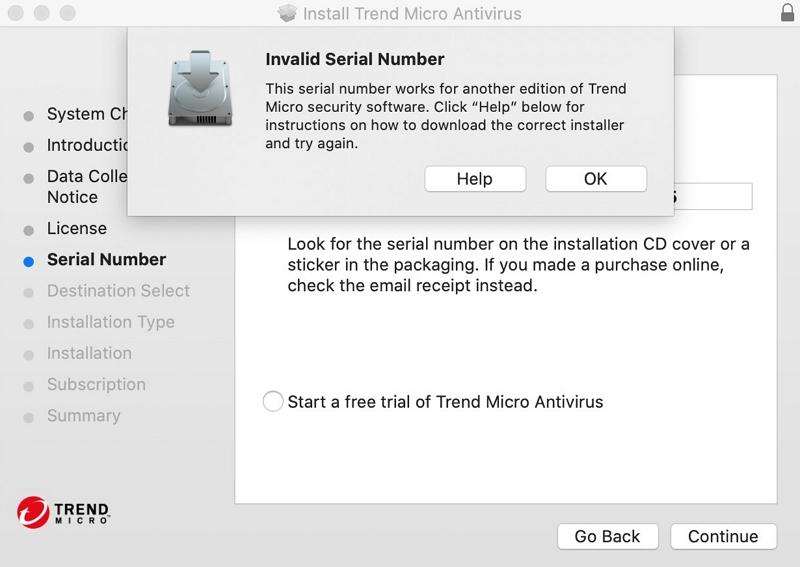 Invalid Serial Number
