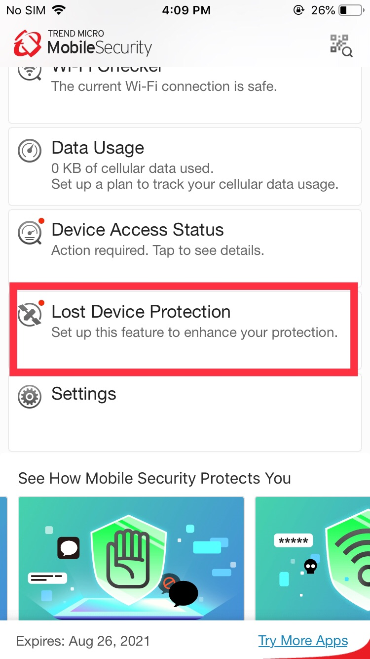 Lost Device Protection | Main Screen