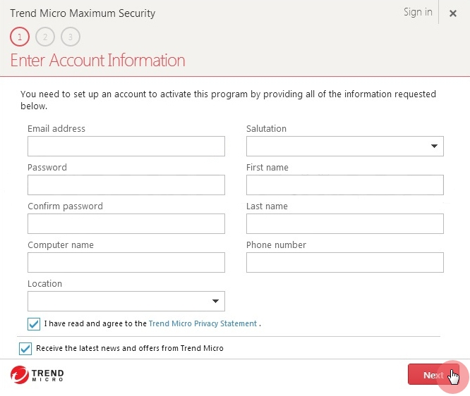 Enter_Account_Information_Trend_Micro_Maximum_Security