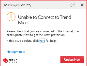 Unable to contact Trend Micro