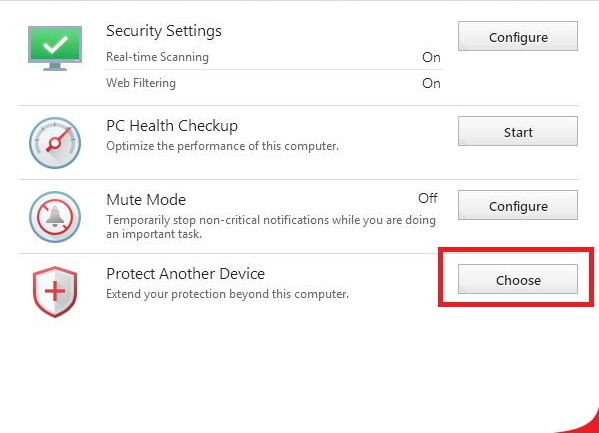 Protect Another Device - Choose