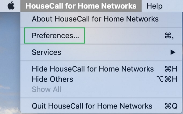 HouseCall for Home Networks > Preferences