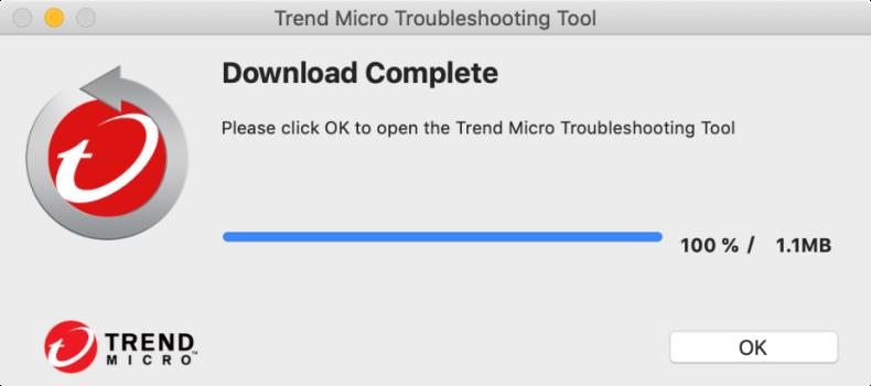 Trend Micro Troubleshooting Tool - Download Complete