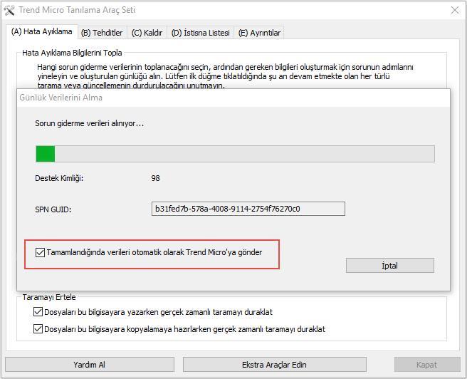 Kullanıcılar, günlük verilerini otomatik olarak Trend Micro'ya göndermeyi seçebilir