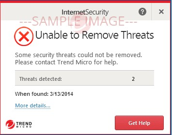 Unable to Remove Threats. Some security threats could not be removed.