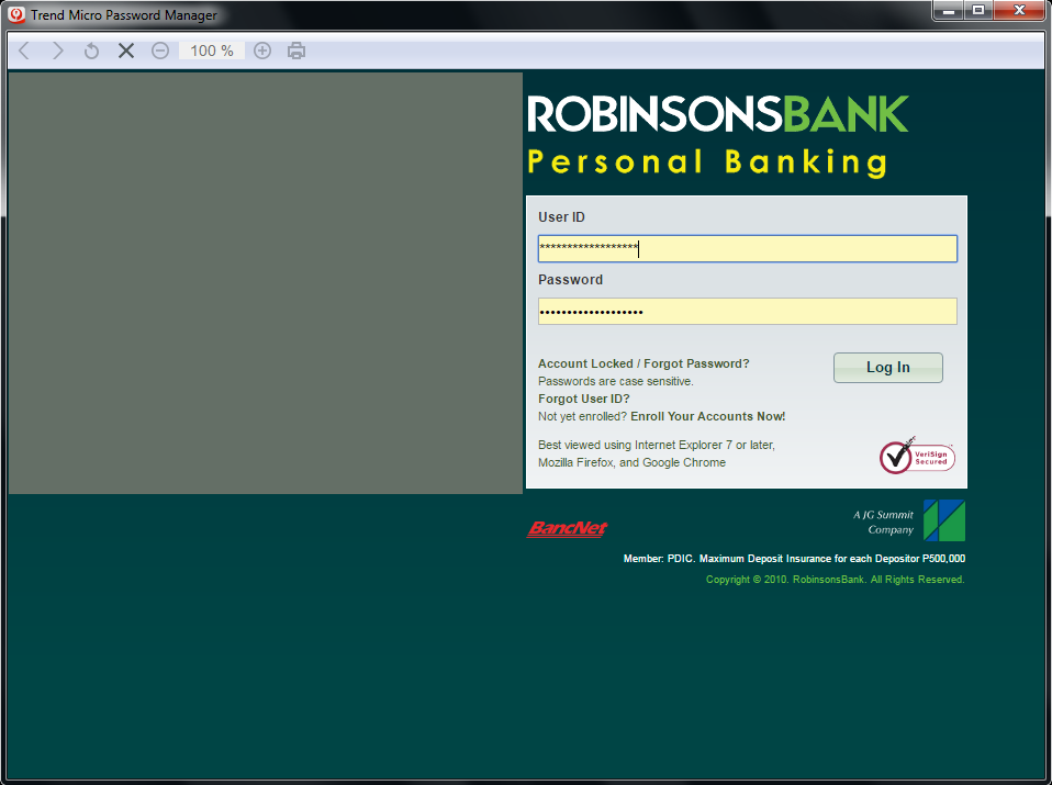 Banking website to signin