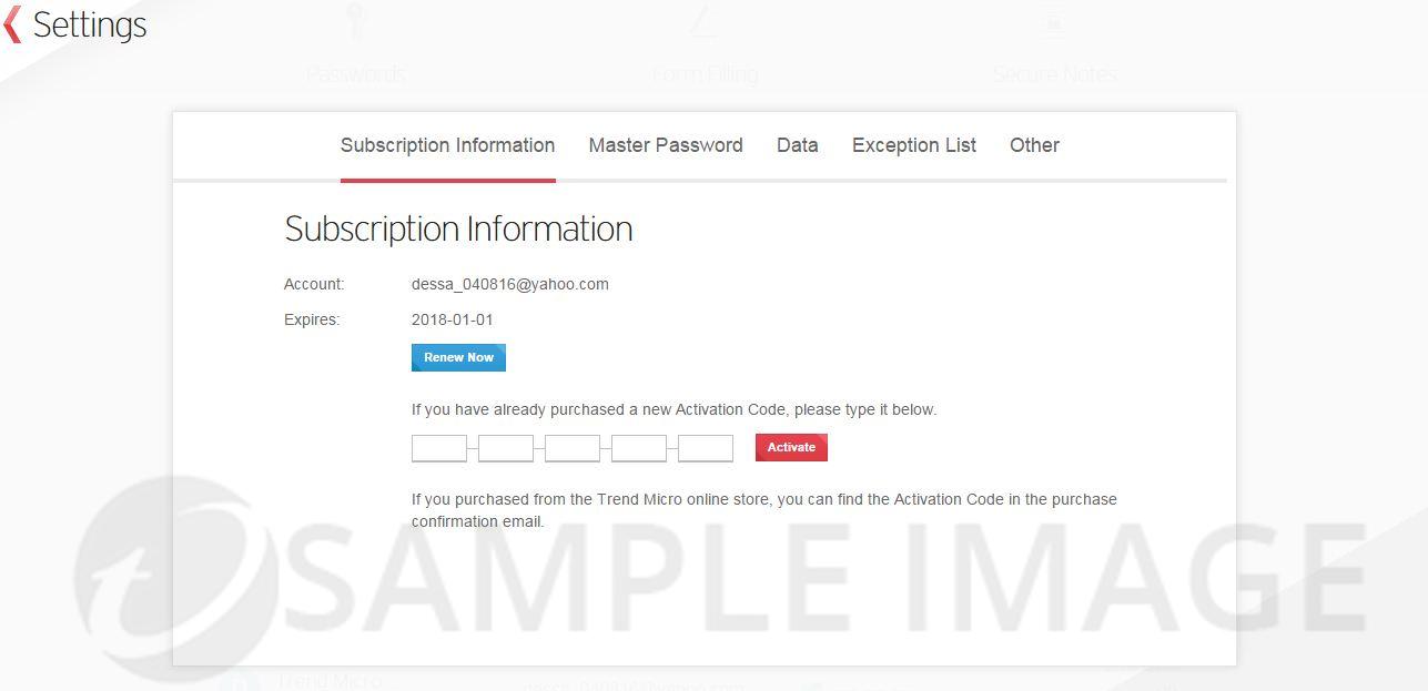 Subscription Information window