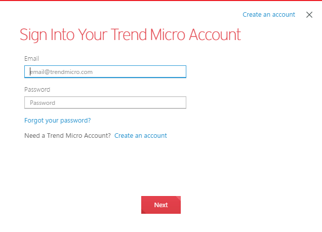 Sign into your Trend Micro Account