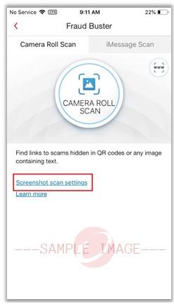 Screenshot Scan Settings