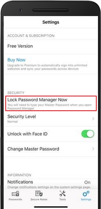 Lock Password Manager Now