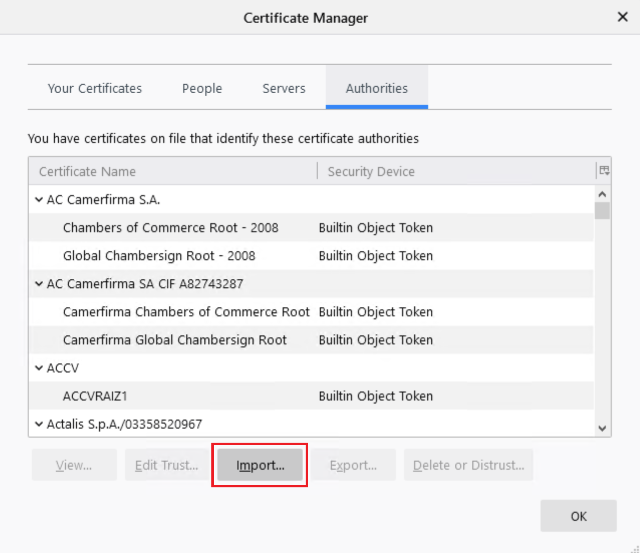 import certificate password manager