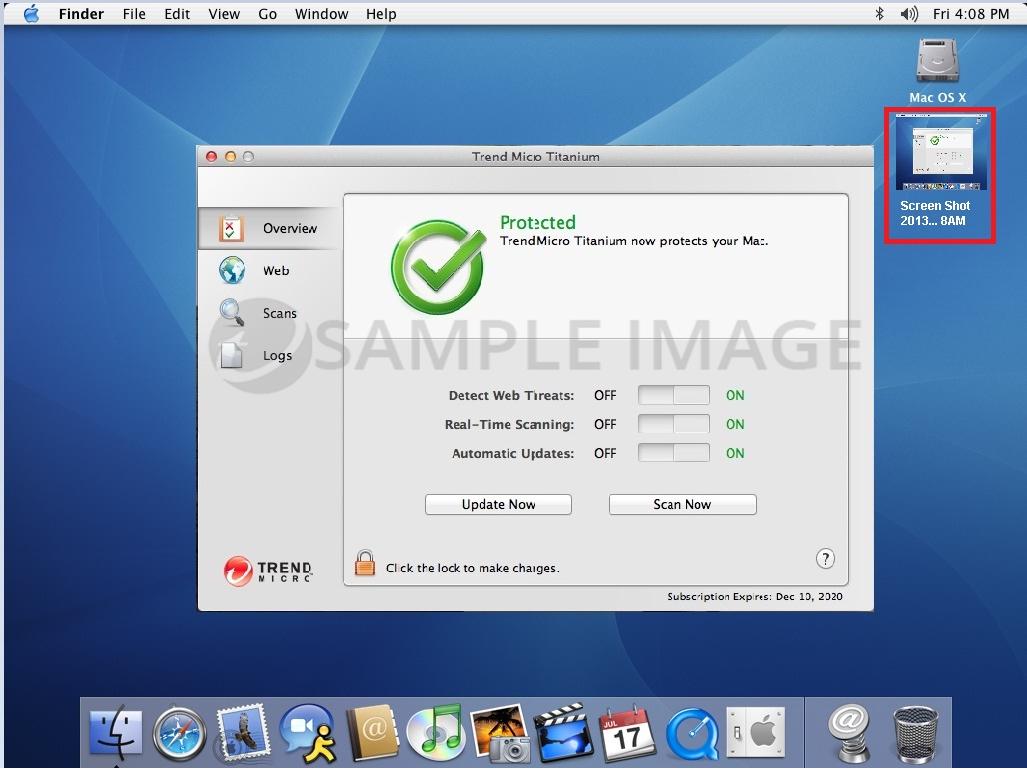 Screenshot on the desktop