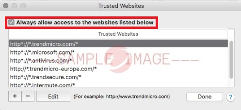 Always allow access to the websites listed below