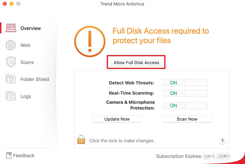 Allow Full Disk Access