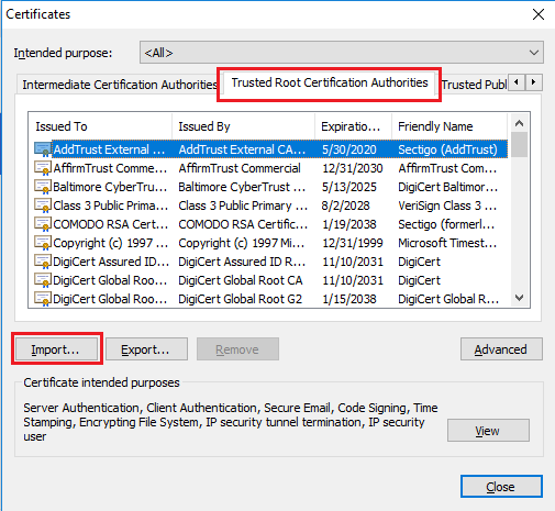 import certificate chrome password manager