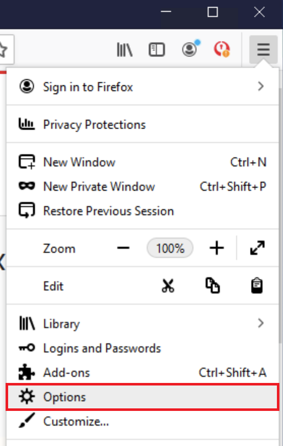 default homepage firefox options password manager