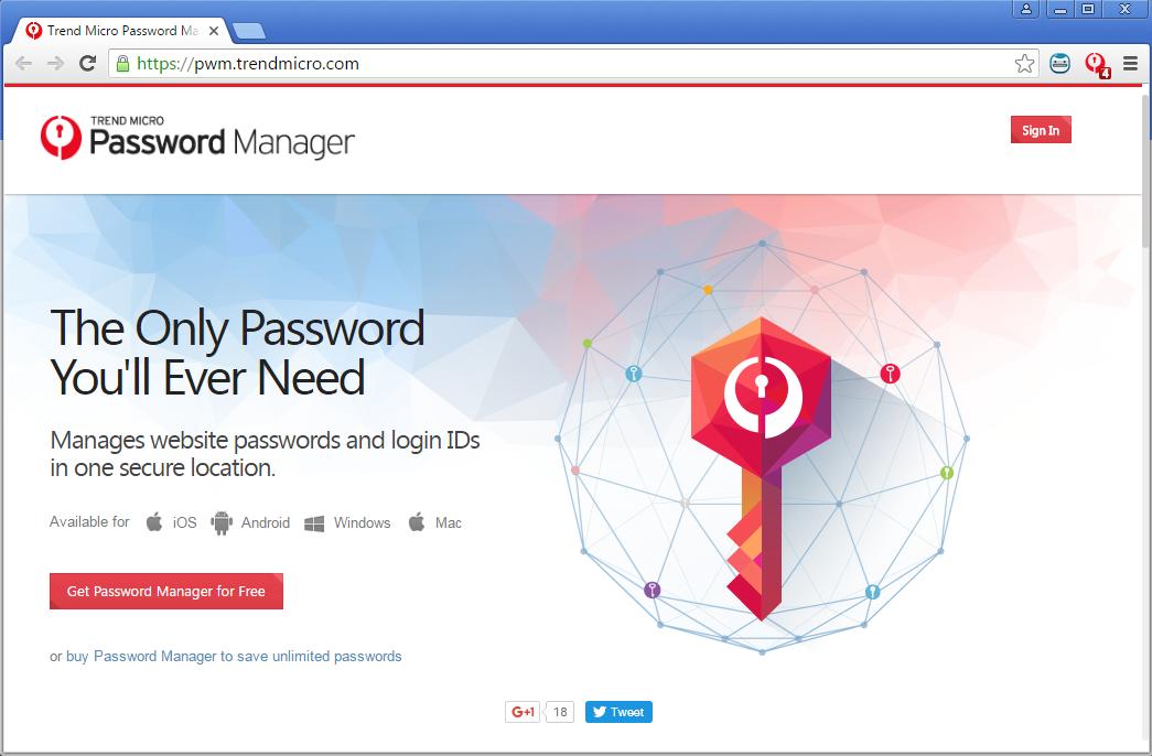 Trend Micro Password Manager website