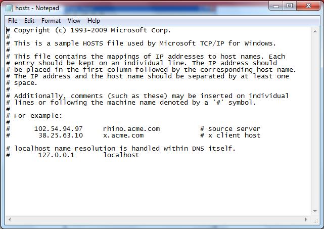 hosts - Notepad