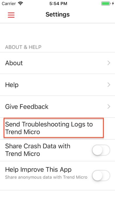 Send Troubleshooting Logs to Trend Micro