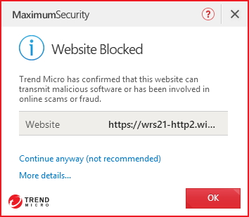 Website Blocked - Trend Micro has confirmed that this website can transmit malicious software or has been involved in online scams or fraud.