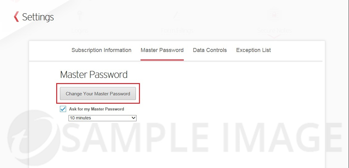 Change your Master Password