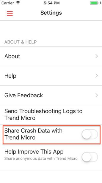 Share Crash Data with Trend Micro