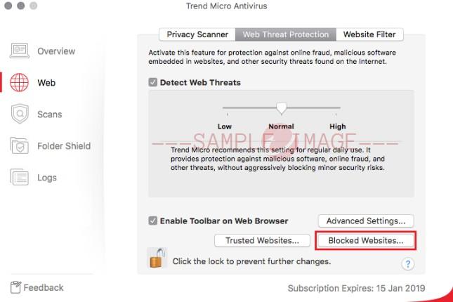 Blocked Website button