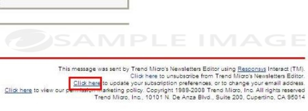 Trend Micro email notice