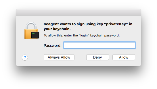 """neagent wants to use your confidential information stored in """"VPN Proxy One"""" in your keychain"""