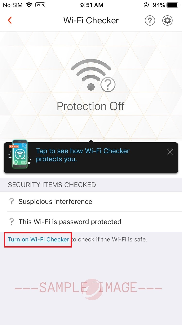 Turn on Wi-Fi Checke