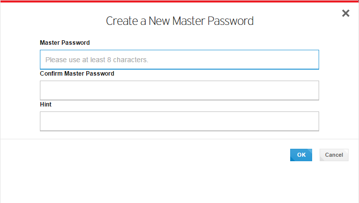 Create a New Master Password