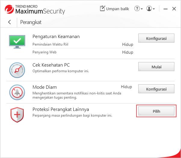 Lindungi Perangkat Lain > Pilih