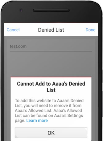 Cannot add to Denied List