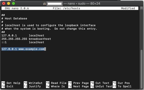 Modifying hosts file
